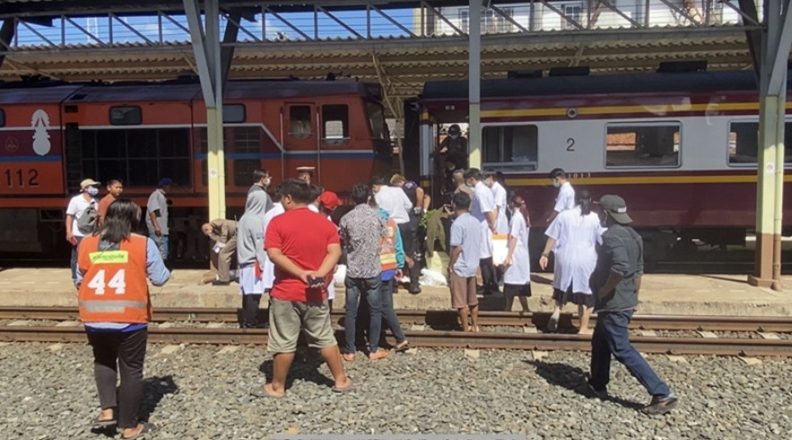 Monk steps into path of speeding train